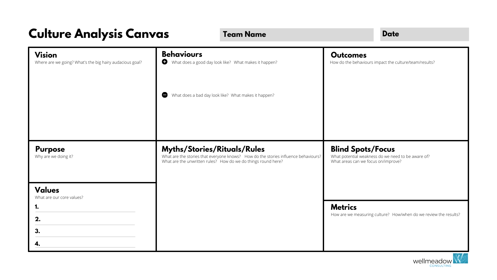 The Wellmeadow Culture Analysis Canvas